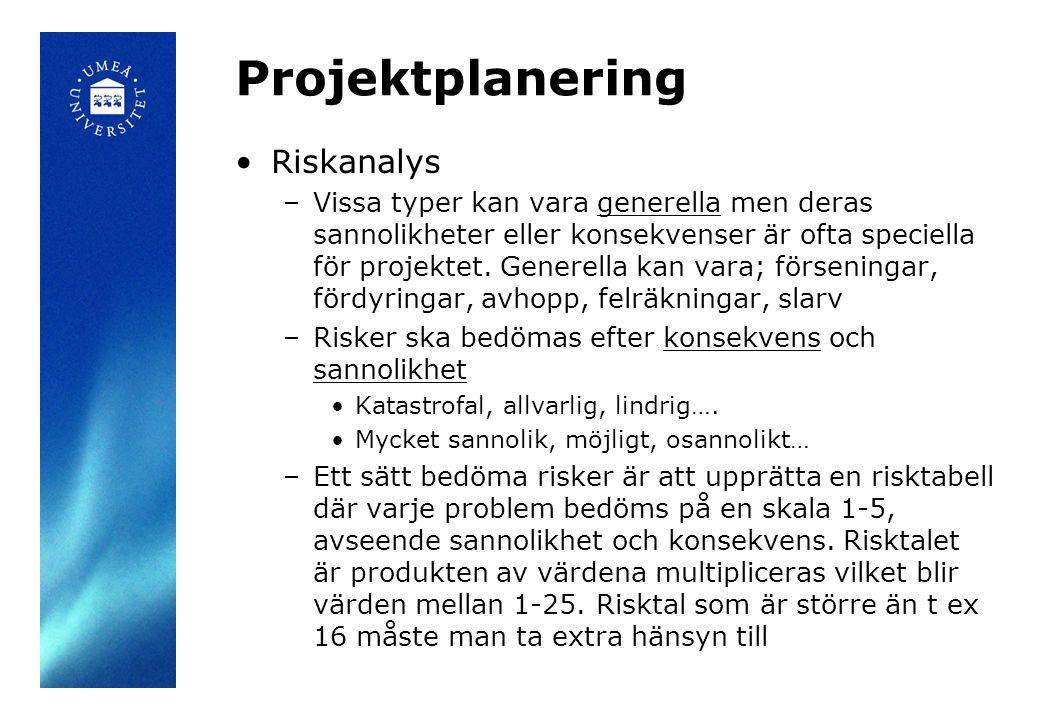 Projektplanering •Riskanalys –Vissa typer kan vara generella men deras sannolikheter eller konsekvenser är ofta speciella för projektet. Generella kan