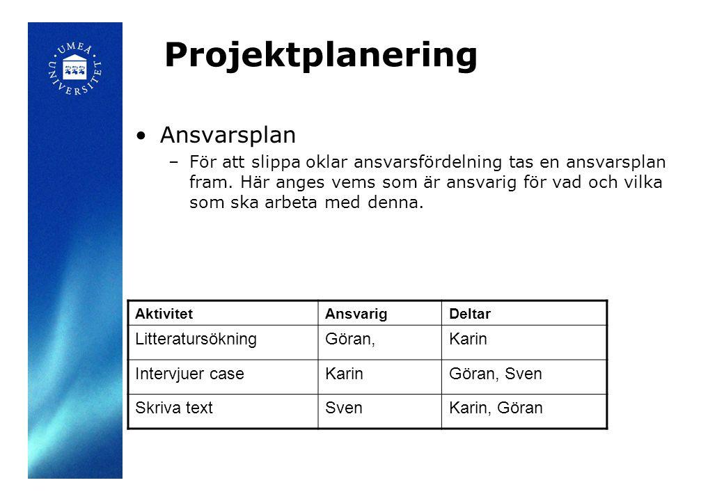 Projektplanering •Ansvarsplan –För att slippa oklar ansvarsfördelning tas en ansvarsplan fram. Här anges vems som är ansvarig för vad och vilka som sk