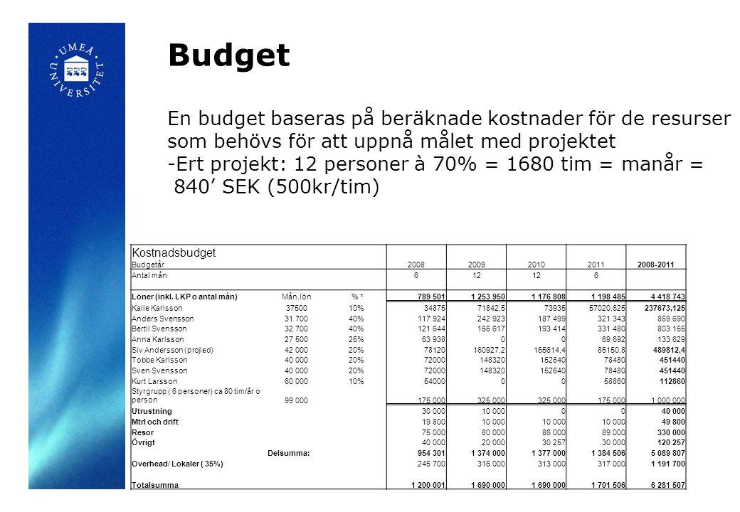 Budget Kostnadsbudget Budgetår 20082009201020112008-2011 Antal mån 612 6 Löner (inkl. LKP o antal mån)Mån.lön % *789 5011 253 9501 176 8081 198 4854 4