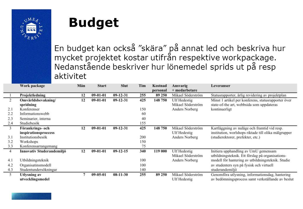 """Budget En budget kan också """"skära"""" på annat led och beskriva hur mycket projektet kostar utifrån respektive workpackage. Nedanstående beskriver hur lö"""