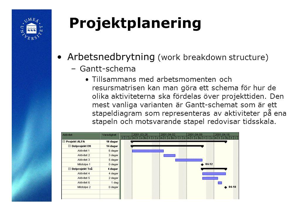 Projektplanering •Arbetsnedbrytning (work breakdown structure) –Gantt-schema •Tillsammans med arbetsmomenten och resursmatrisen kan man göra ett schem