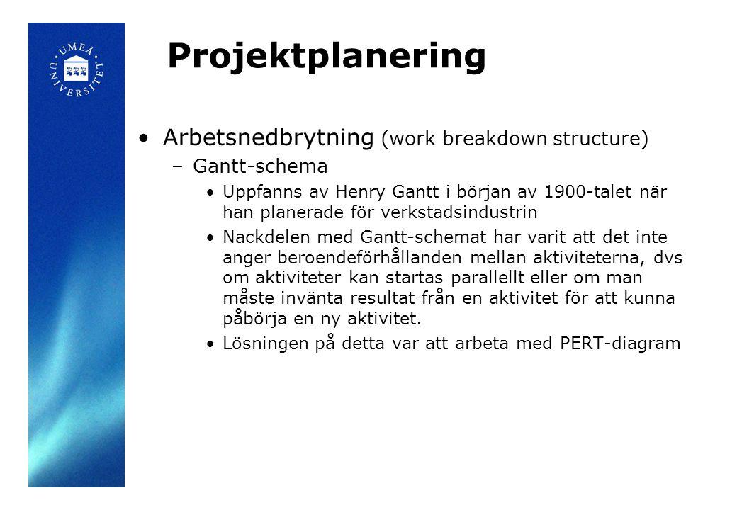 Projektplanering •Arbetsnedbrytning (work breakdown structure) –Gantt-schema •Uppfanns av Henry Gantt i början av 1900-talet när han planerade för ver