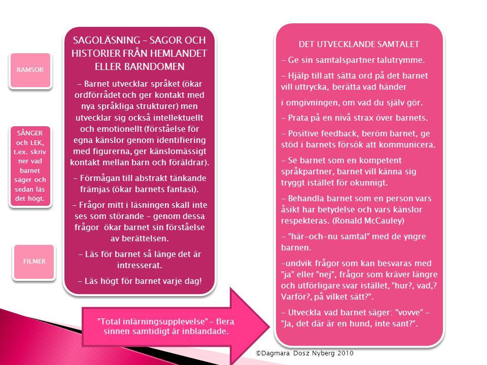SAGOLÄSNING – SAGOR OCH HISTORIER FRÅN HEMLANDET ELLER BARNDOMEN - Barnet utvecklar språket (ökar ordförrådet och ger kontakt med nya språkliga strukt