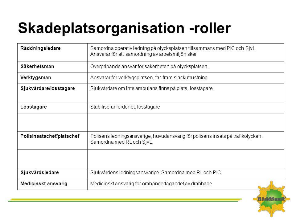Skadeplatsorganisation -roller RäddningsledareSamordna operativ ledning på olycksplatsen tillsammans med PIC och SjvL. Ansvarar för att samordning av