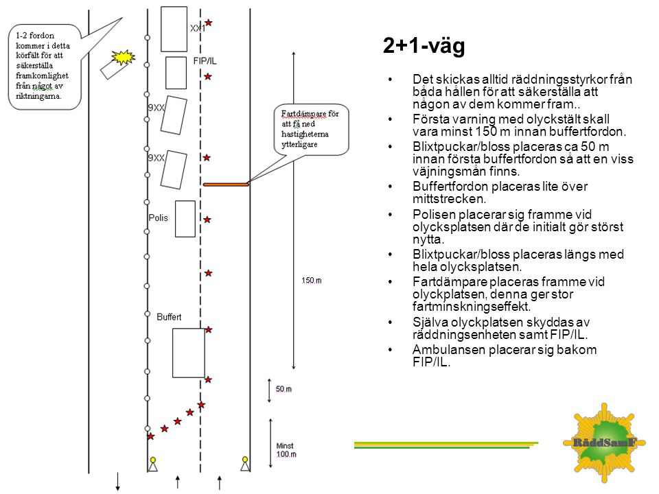 2+1-väg •Det skickas alltid räddningsstyrkor från båda hållen för att säkerställa att någon av dem kommer fram.. •Första varning med olyckstält skall