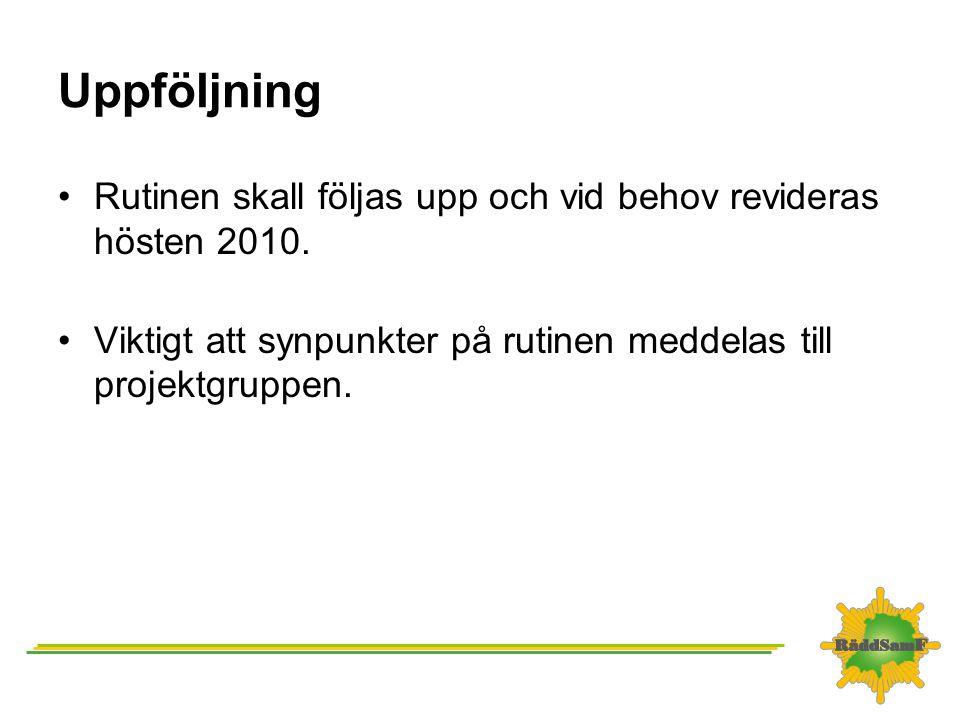 Uppföljning •Rutinen skall följas upp och vid behov revideras hösten 2010. •Viktigt att synpunkter på rutinen meddelas till projektgruppen.