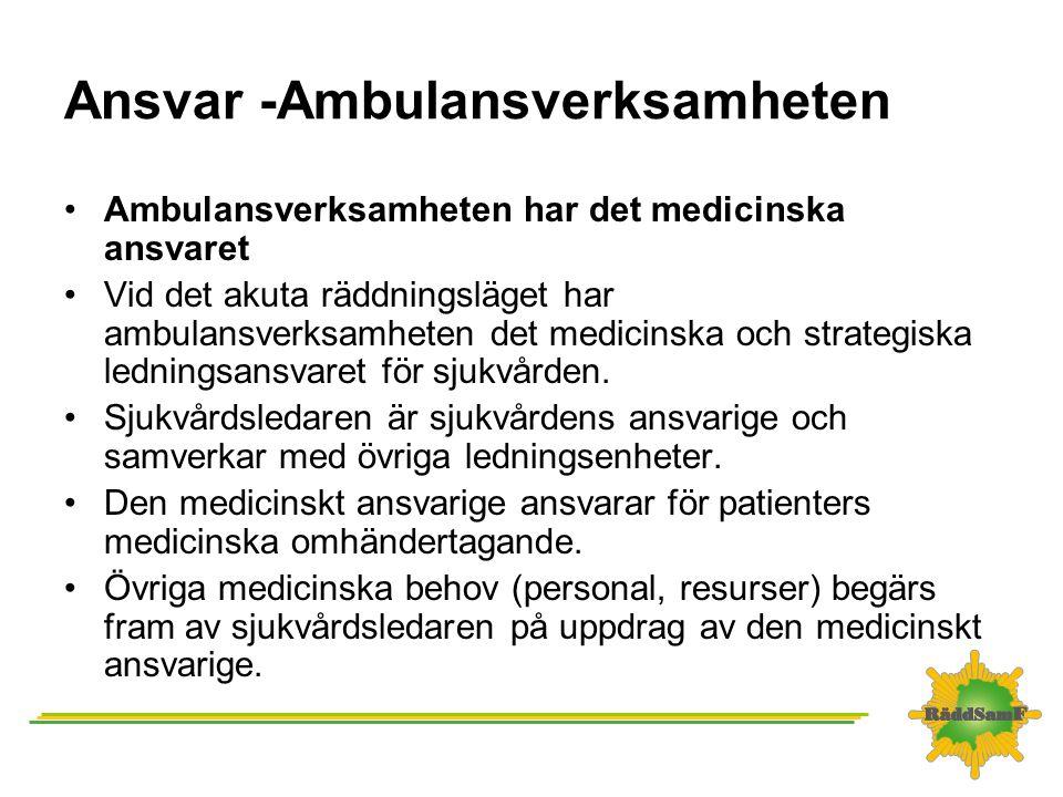 Ansvar -Ambulansverksamheten •Ambulansverksamheten har det medicinska ansvaret •Vid det akuta räddningsläget har ambulansverksamheten det medicinska o