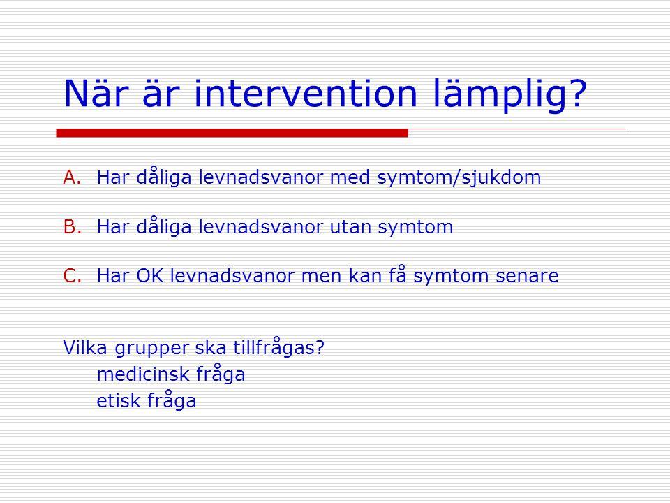 När är intervention lämplig? A.Har dåliga levnadsvanor med symtom/sjukdom B.Har dåliga levnadsvanor utan symtom C.Har OK levnadsvanor men kan få symto