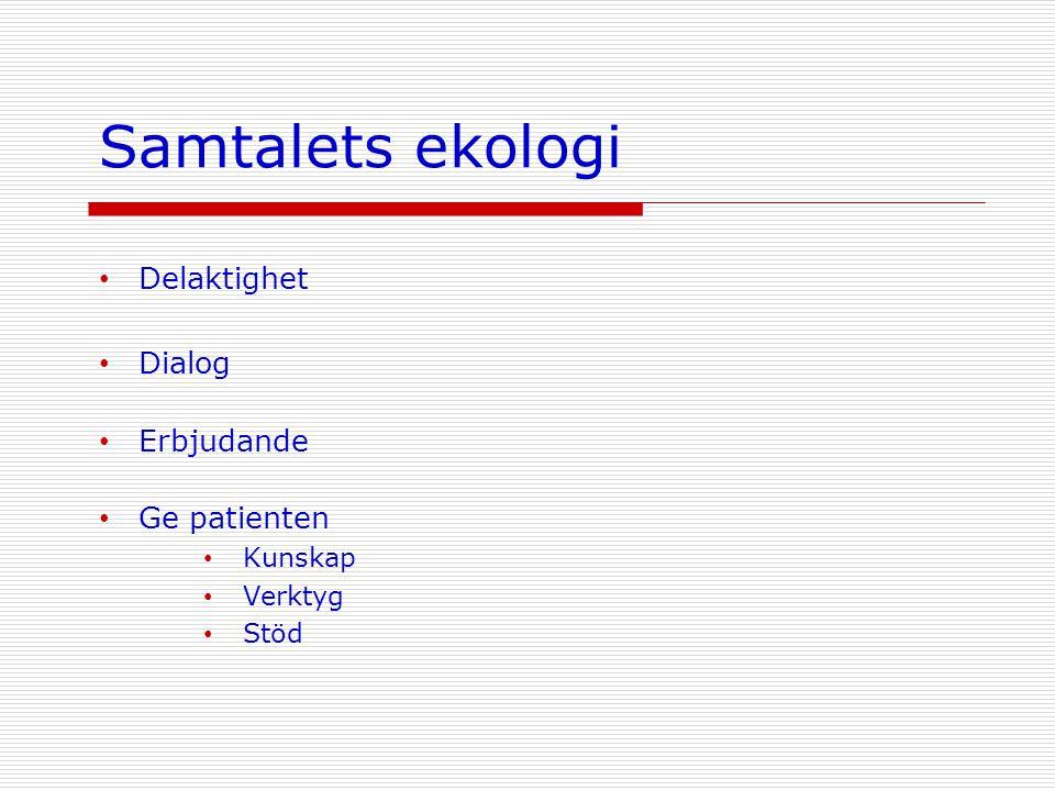 Samtalets ekologi • Delaktighet • Dialog • Erbjudande • Ge patienten • Kunskap • Verktyg • Stöd