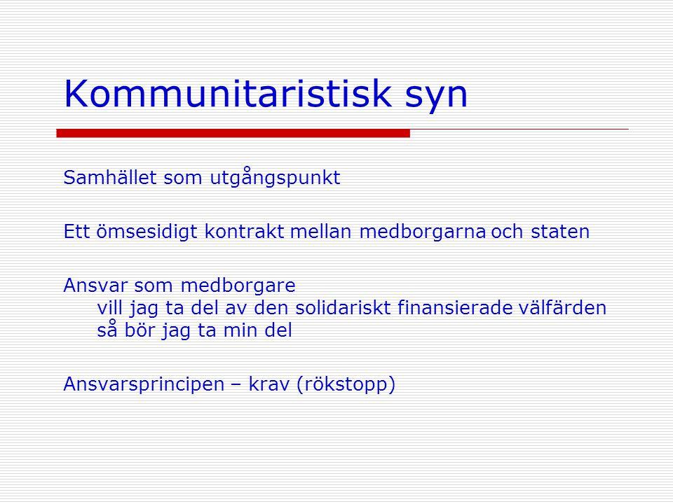 Kommunitaristisk syn Samhället som utgångspunkt Ett ömsesidigt kontrakt mellan medborgarna och staten Ansvar som medborgare vill jag ta del av den sol