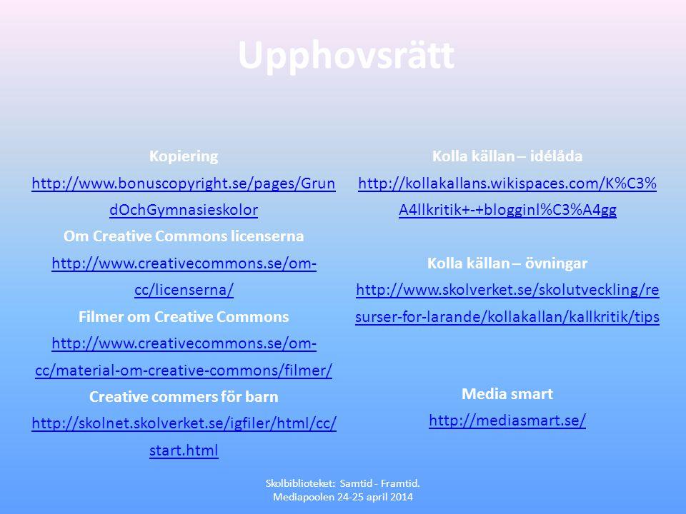 Upphovsrätt Skolbiblioteket: Samtid - Framtid. Mediapoolen 24-25 april 2014 Kopiering http://www.bonuscopyright.se/pages/Grun dOchGymnasieskolor Om Cr