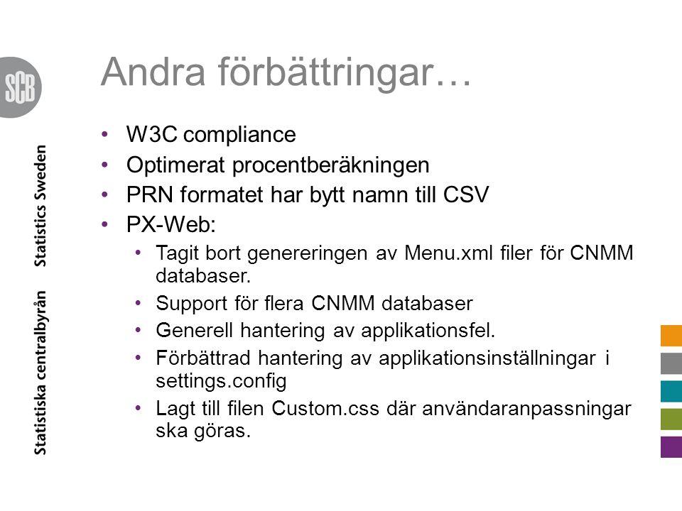 Andra förbättringar… •W3C compliance •Optimerat procentberäkningen •PRN formatet har bytt namn till CSV •PX-Web: •Tagit bort genereringen av Menu.xml
