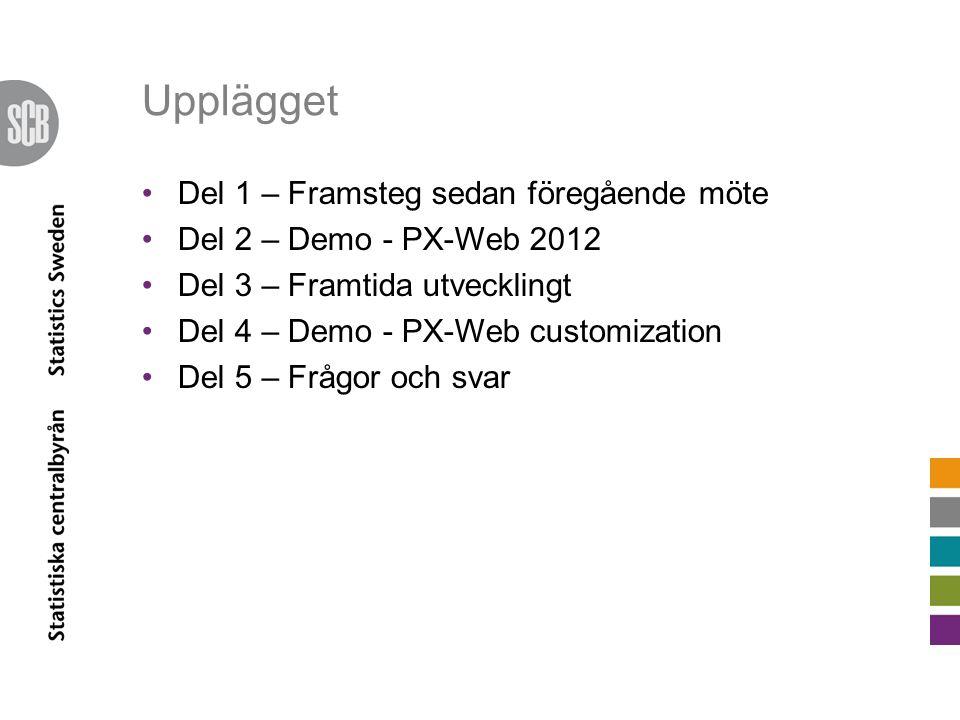 Upplägget •Del 1 – Framsteg sedan föregående möte •Del 2 – Demo - PX-Web 2012 •Del 3 – Framtida utvecklingt •Del 4 – Demo - PX-Web customization •Del