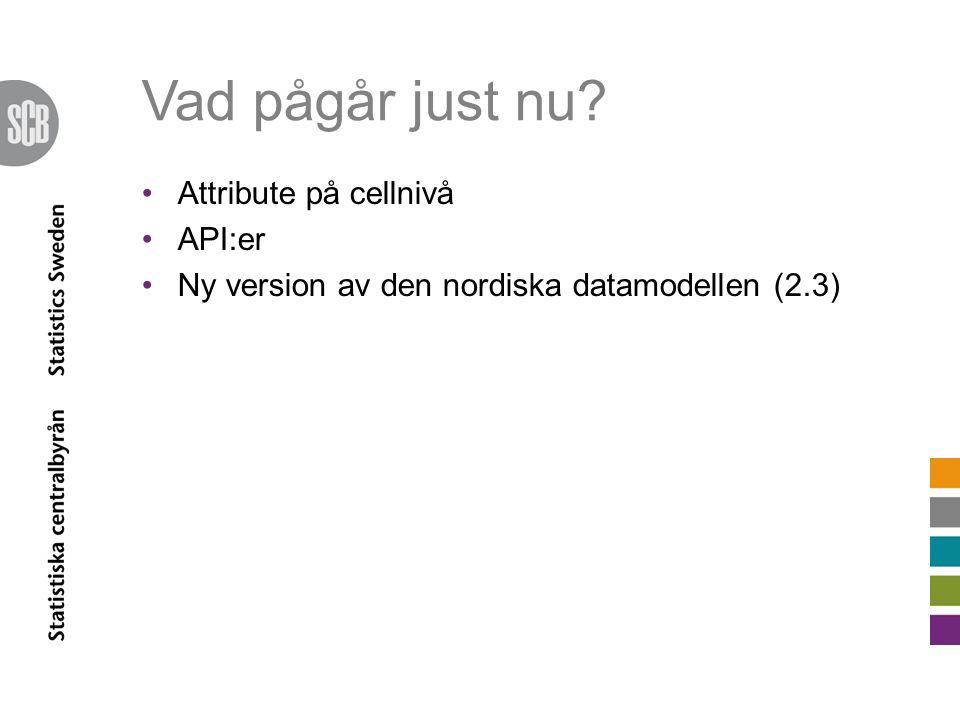 Vad pågår just nu? •Attribute på cellnivå •API:er •Ny version av den nordiska datamodellen (2.3)