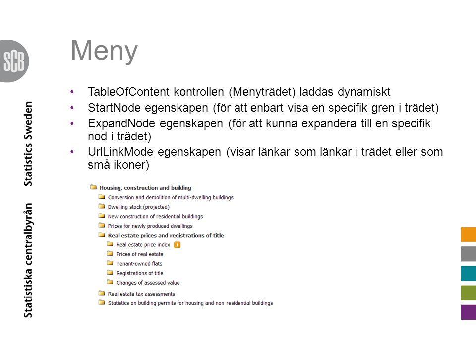 Meny •TableOfContent kontrollen (Menyträdet) laddas dynamiskt •StartNode egenskapen (för att enbart visa en specifik gren i trädet) •ExpandNode egensk