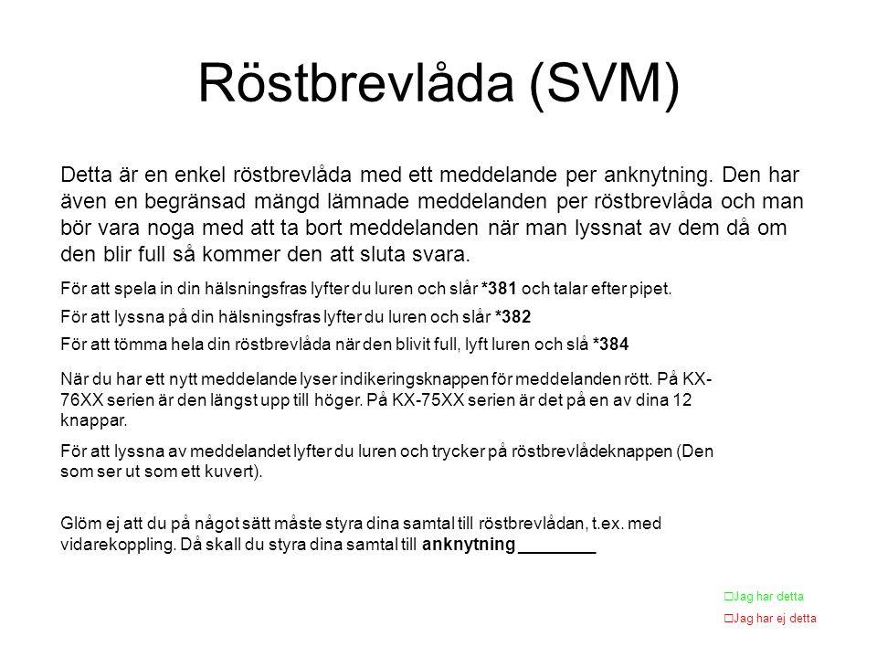 Röstbrevlåda (SVM) Detta är en enkel röstbrevlåda med ett meddelande per anknytning.