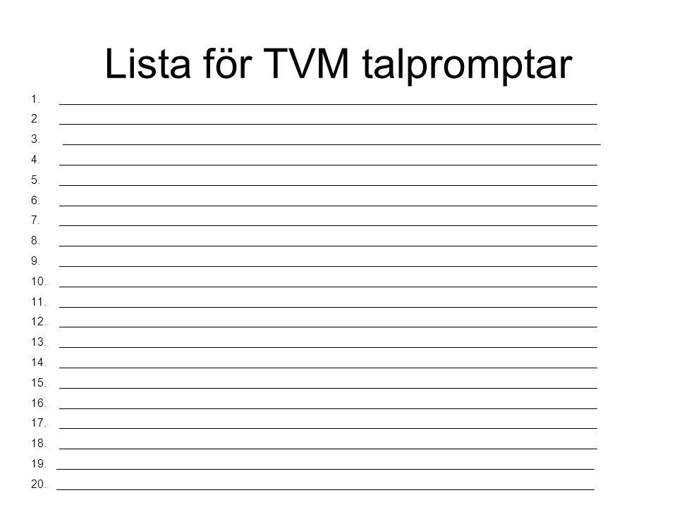 Lista för TVM talpromptar 1.