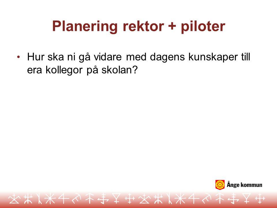 Planering rektor + piloter • Hur ska ni gå vidare med dagens kunskaper till era kollegor på skolan?