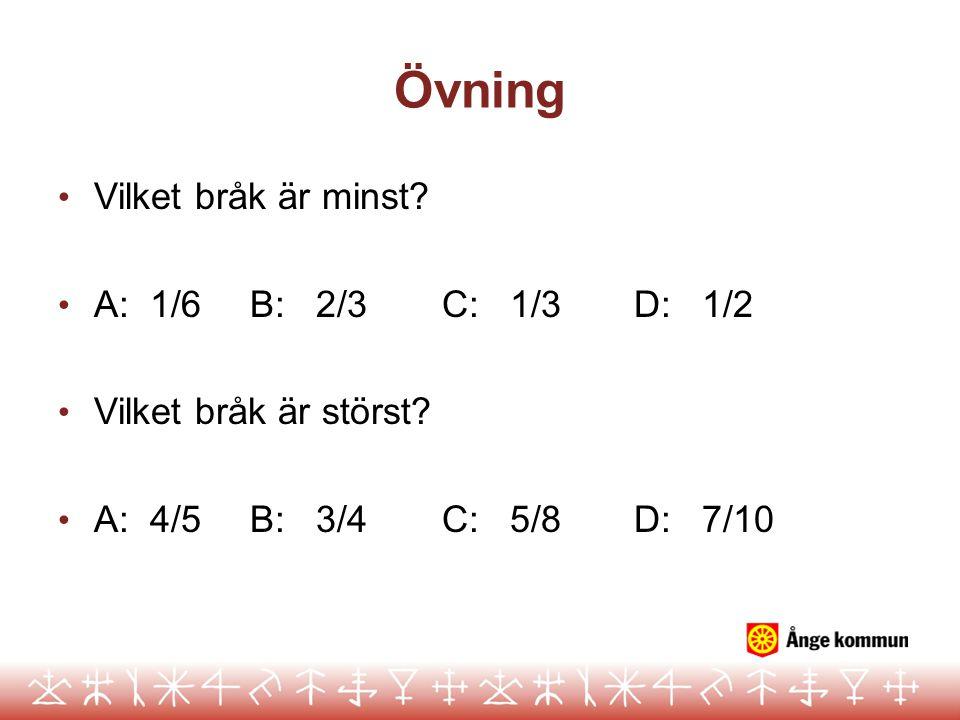 Övning • Vilket bråk är minst? • A: 1/6B: 2/3C: 1/3D: 1/2 • Vilket bråk är störst? • A: 4/5B: 3/4C: 5/8D: 7/10