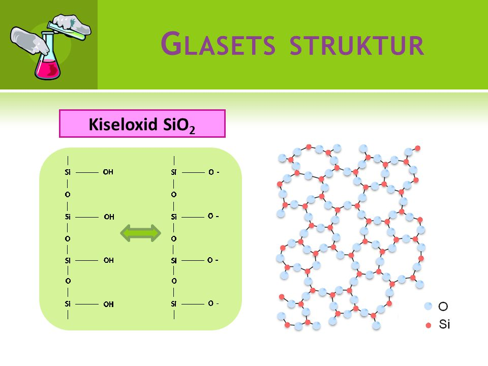 G LASETS STRUKTUR Kiseloxid SiO 2