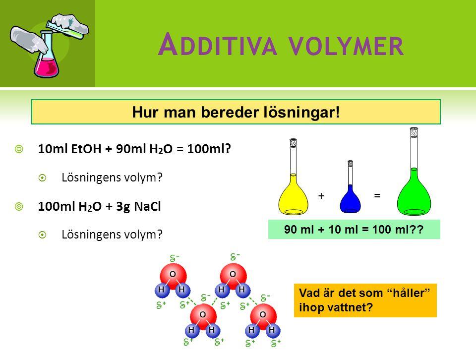 A DDITIVA VOLYMER  10ml EtOH + 90ml H 2 O = 100ml.