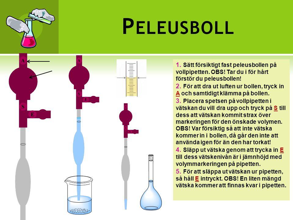 P ELEUSBOLL 1.Sätt försiktigt fast peleusbollen på vollpipetten.