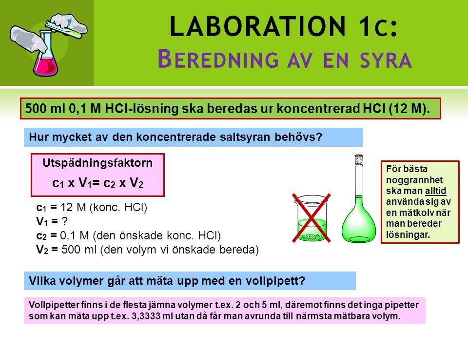 LABORATION 1 C : B EREDNING AV EN SYRA 500 ml 0,1 M HCl-lösning ska beredas ur koncentrerad HCl (12 M).