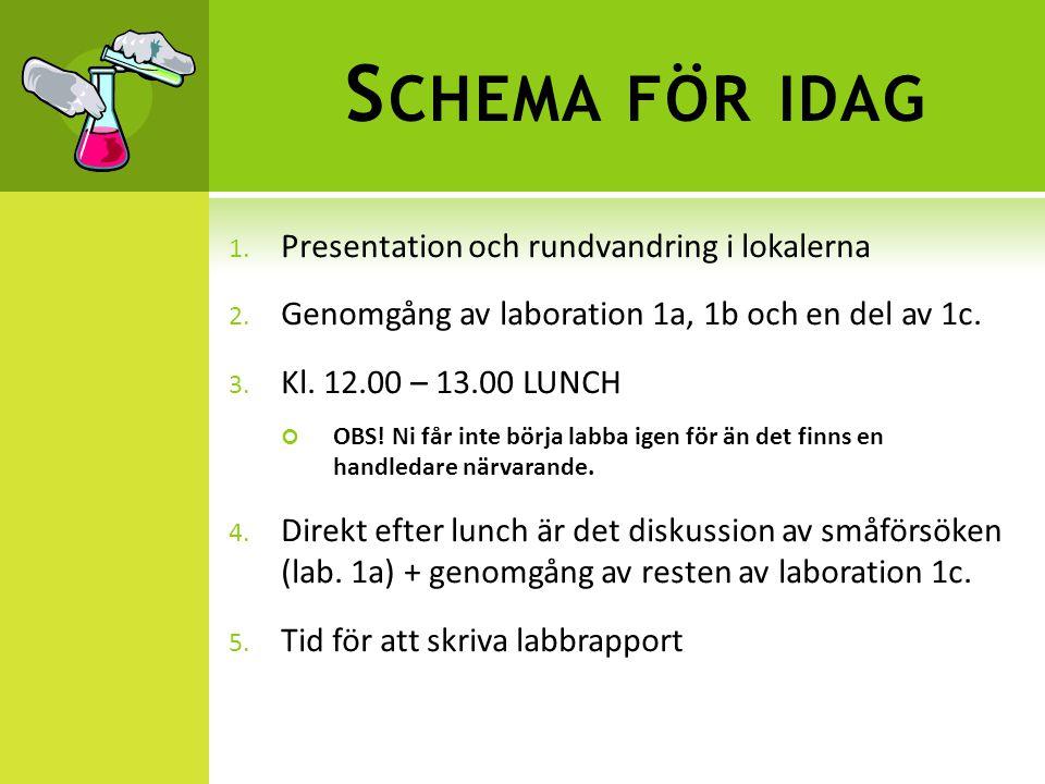 S CHEMA FÖR IDAG 1.Presentation och rundvandring i lokalerna 2.