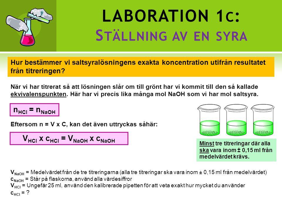 LABORATION 1 C : S TÄLLNING AV EN SYRA Hur bestämmer vi saltsyralösningens exakta koncentration utifrån resultatet från titreringen.