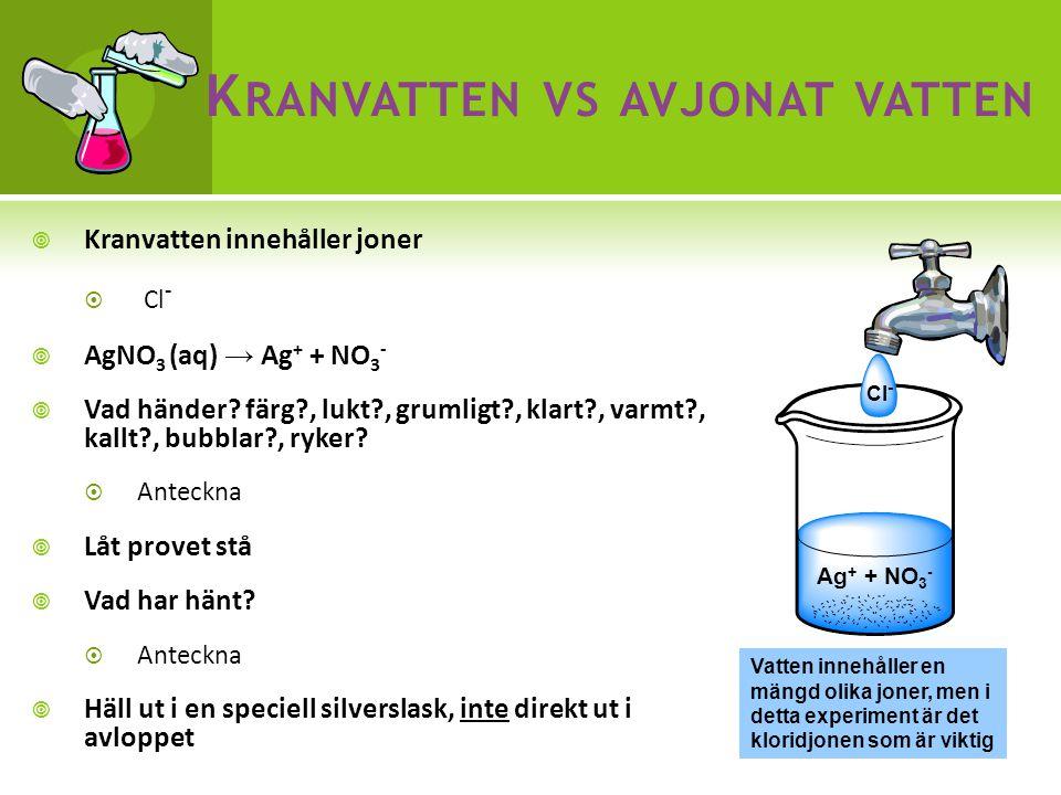  Kranvatten innehåller joner  Cl -  AgNO 3 (aq) → Ag + + NO 3 -  Vad händer.