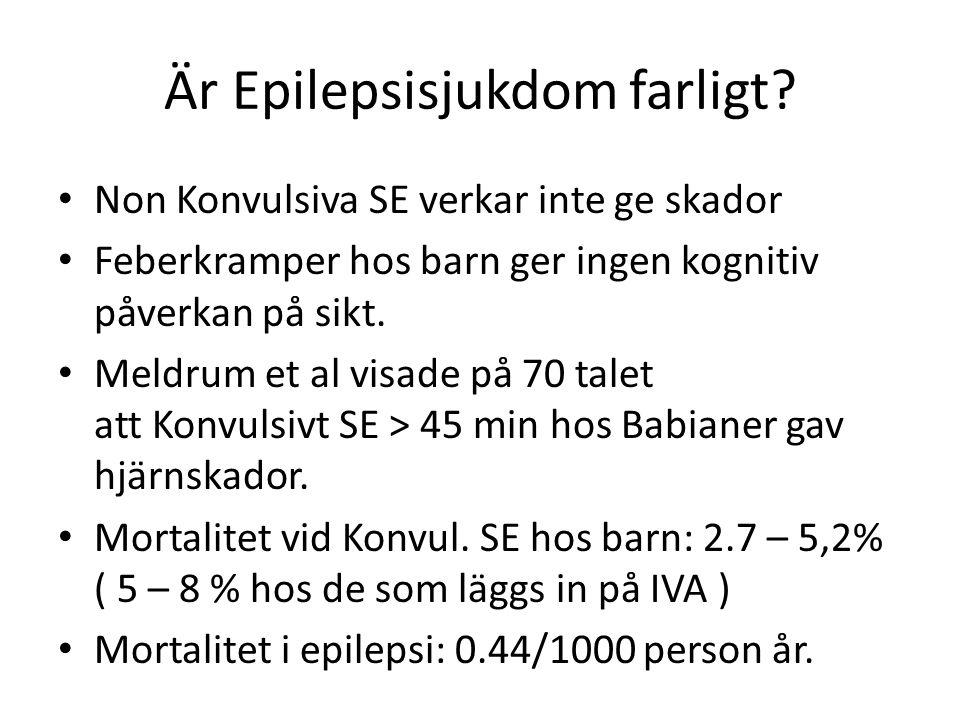 Sillanpää 40 års cohort studie 2010 NEJM • Inga fall av SUDEP hos någon < 14 års ålder • 60 av 245 dog.