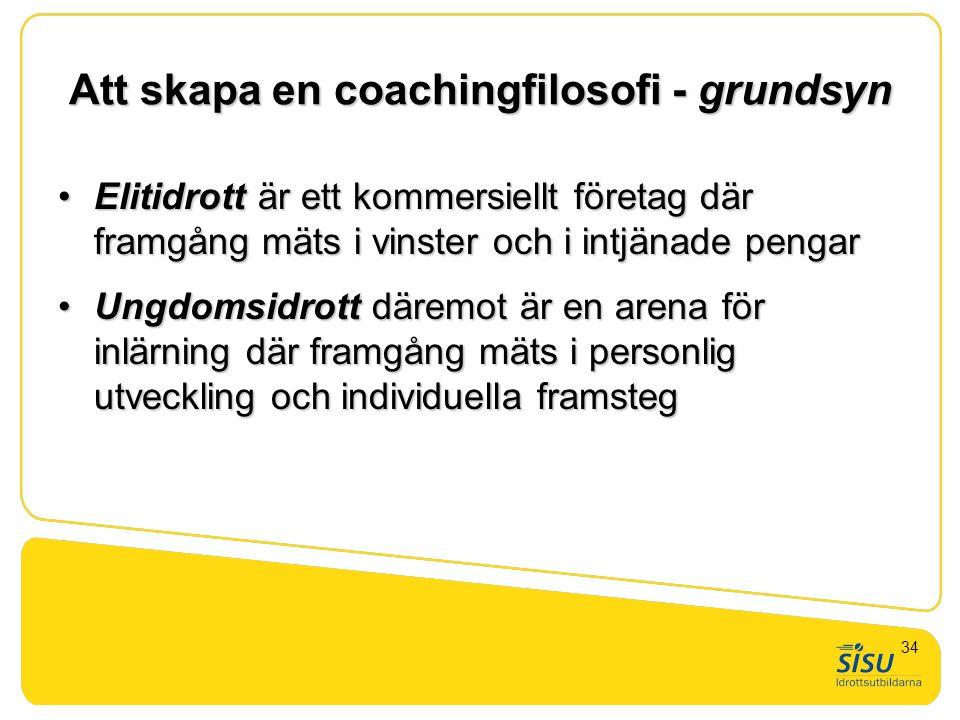 Att skapa en coachingfilosofi - grundsyn •Elitidrott är ett kommersiellt företag där framgång mäts i vinster och i intjänade pengar •Ungdomsidrott där
