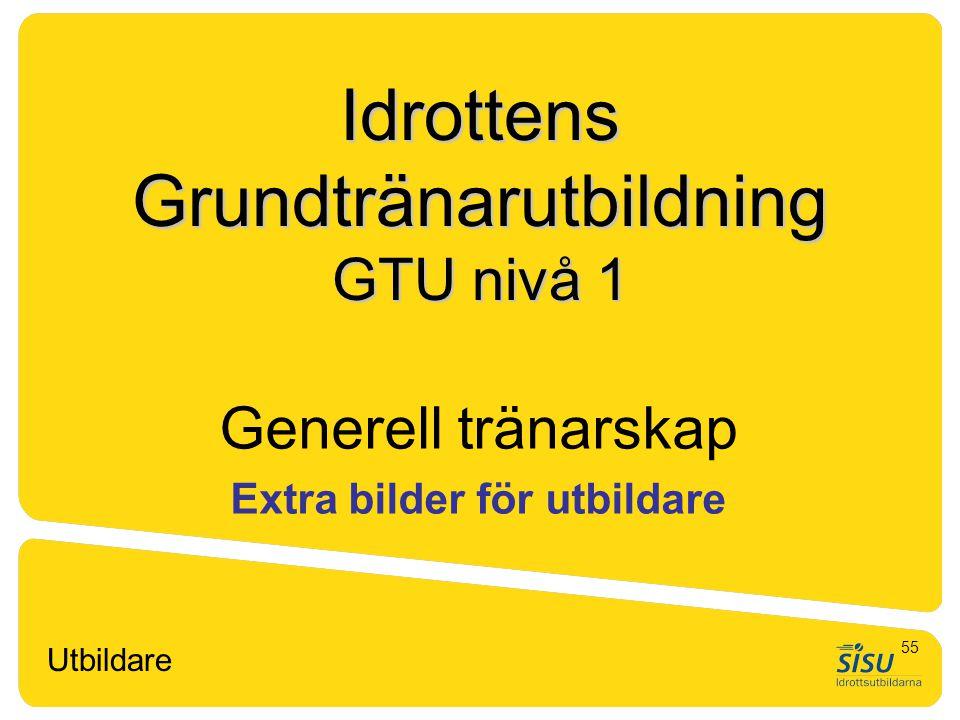 Idrottens Grundtränarutbildning GTU nivå 1 Generell tränarskap Extra bilder för utbildare Utbildare 55