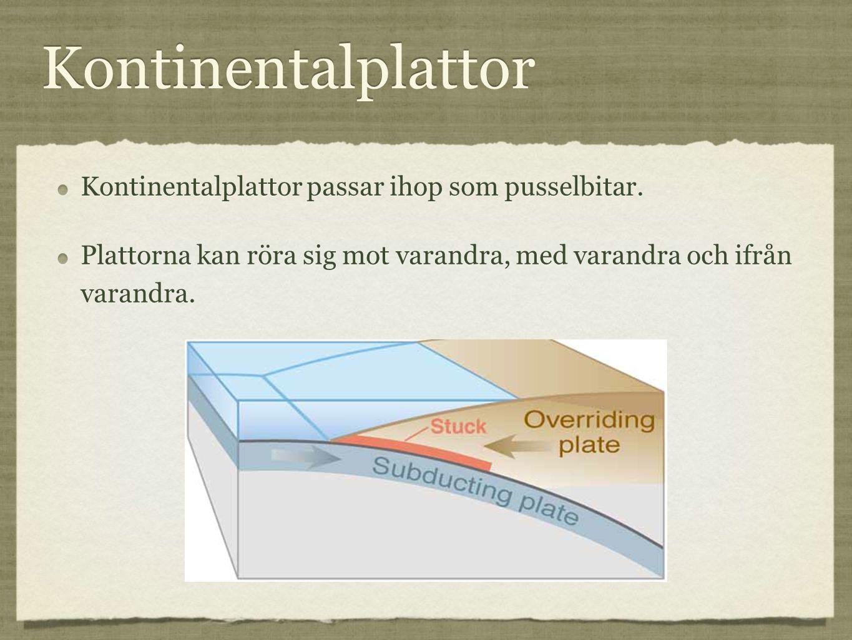 Kontinentalplattor Kontinentalplattor passar ihop som pusselbitar. Plattorna kan röra sig mot varandra, med varandra och ifrån varandra. Kontinentalpl