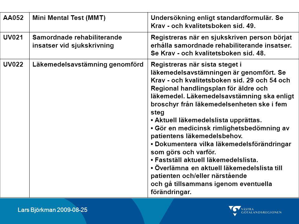 AA052Mini Mental Test (MMT)Undersökning enligt standardformulär. Se Krav - och kvalitetsboken sid. 49. UV021Samordnade rehabiliterande insatser vid sj