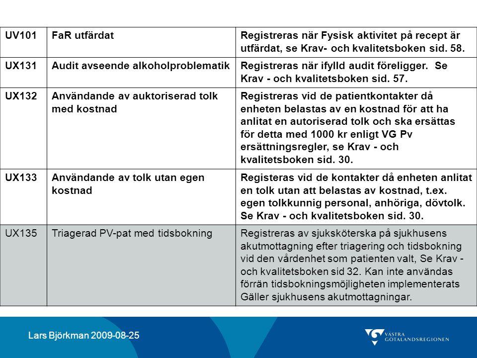 UV101FaR utfärdatRegistreras när Fysisk aktivitet på recept är utfärdat, se Krav- och kvalitetsboken sid. 58. UX131Audit avseende alkoholproblematikRe