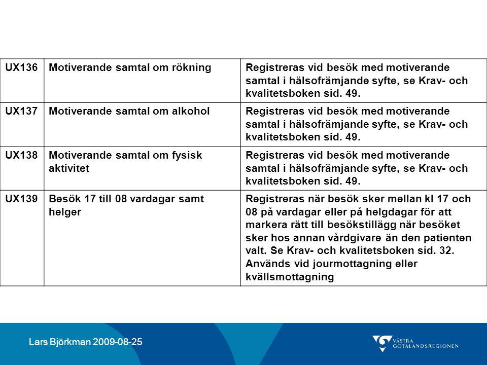 UX136Motiverande samtal om rökningRegistreras vid besök med motiverande samtal i hälsofrämjande syfte, se Krav- och kvalitetsboken sid. 49. UX137Motiv