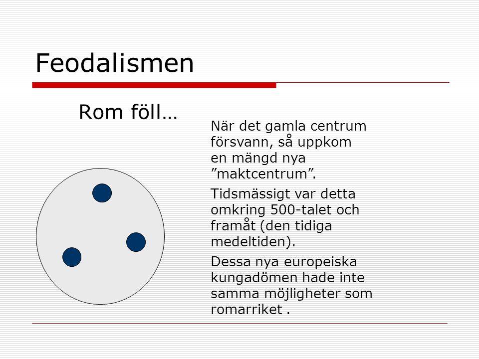 """Feodalismen Rom föll… När det gamla centrum försvann, så uppkom en mängd nya """"maktcentrum"""". Tidsmässigt var detta omkring 500-talet och framåt (den ti"""