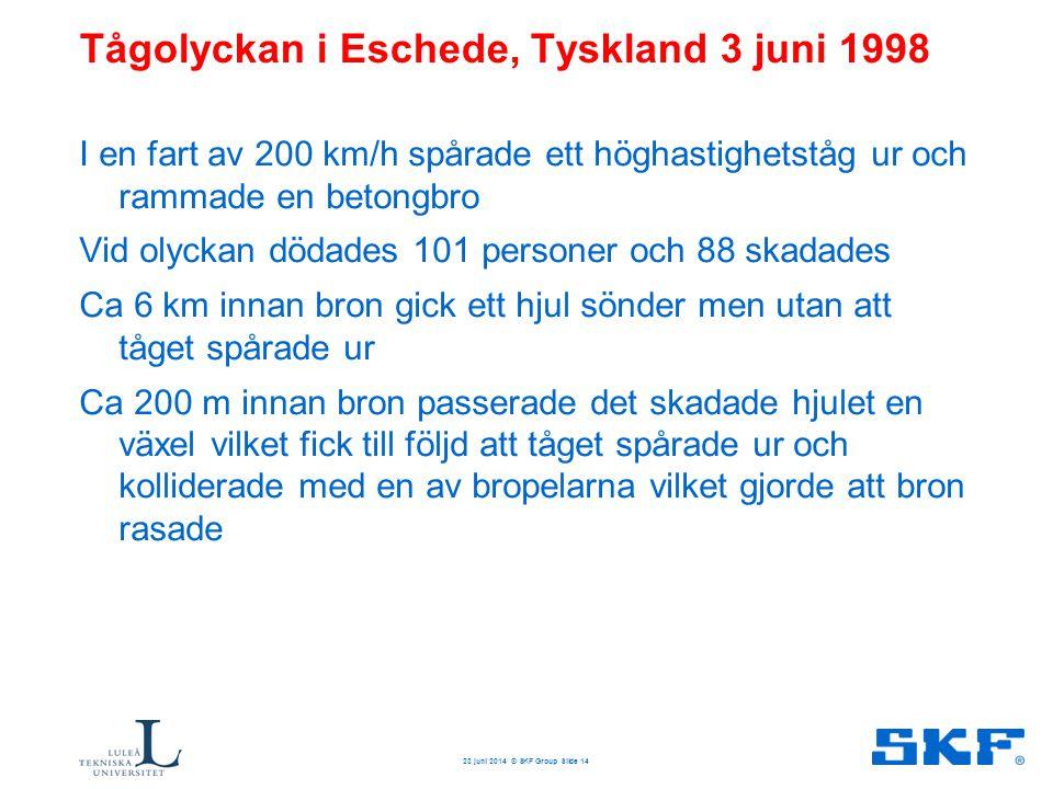 Tågolyckan i Eschede, Tyskland 3 juni 1998 I en fart av 200 km/h spårade ett höghastighetståg ur och rammade en betongbro Vid olyckan dödades 101 pers
