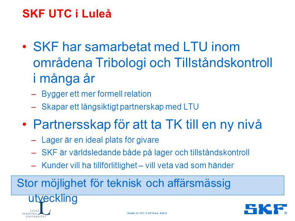 October 30, 2007 © SKF Group Slide 22 SKF UTC i Luleå •SKF har samarbetat med LTU inom områdena Tribologi och Tillståndskontroll i många år –Bygger et