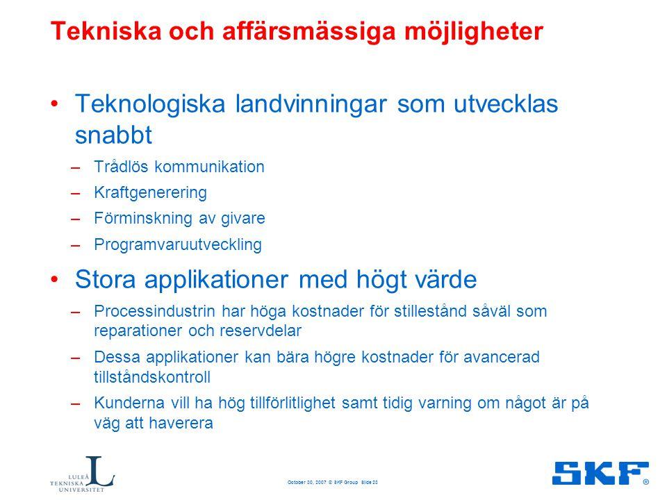 October 30, 2007 © SKF Group Slide 23 Tekniska och affärsmässiga möjligheter •Teknologiska landvinningar som utvecklas snabbt –Trådlös kommunikation –