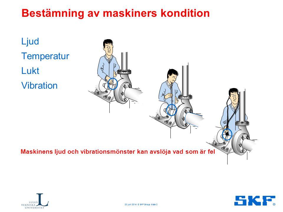 Bestämning av maskiners kondition Ljud Temperatur Lukt Vibration 23 juni 2014 © SKF Group Slide 2 Maskinens ljud och vibrationsmönster kan avslöja vad