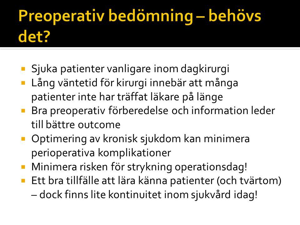  Minimera risk för komplikationer  Förbättra patientens upplevda kvalitet  Utvärdera vilka patienter som inte passar för dagkirurgi  Optimera kroniska sjukdomar Ingen patient skall dö efter dagkirurgiskt ingrepp.
