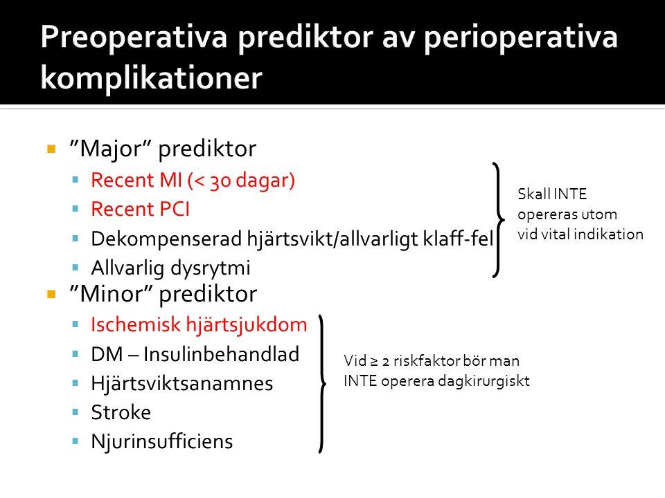 """ """"Major"""" prediktor  Recent MI (< 30 dagar)  Recent PCI  Dekompenserad hjärtsvikt/allvarligt klaff-fel  Allvarlig dysrytmi  """"Minor"""" prediktor  I"""