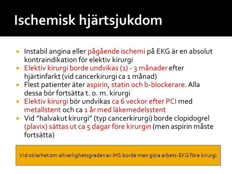  Instabil angina eller pågående ischemi på EKG är en absolut kontraindikation för elektiv kirurgi  Elektiv kirurgi borde undvikas (1) - 3 månader ef