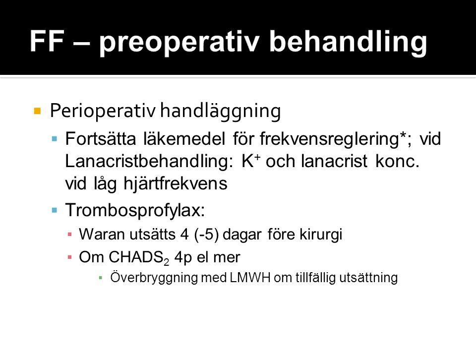  Perioperativ handläggning  Fortsätta läkemedel för frekvensreglering*; vid Lanacristbehandling: K + och lanacrist konc. vid låg hjärtfrekvens  Tro