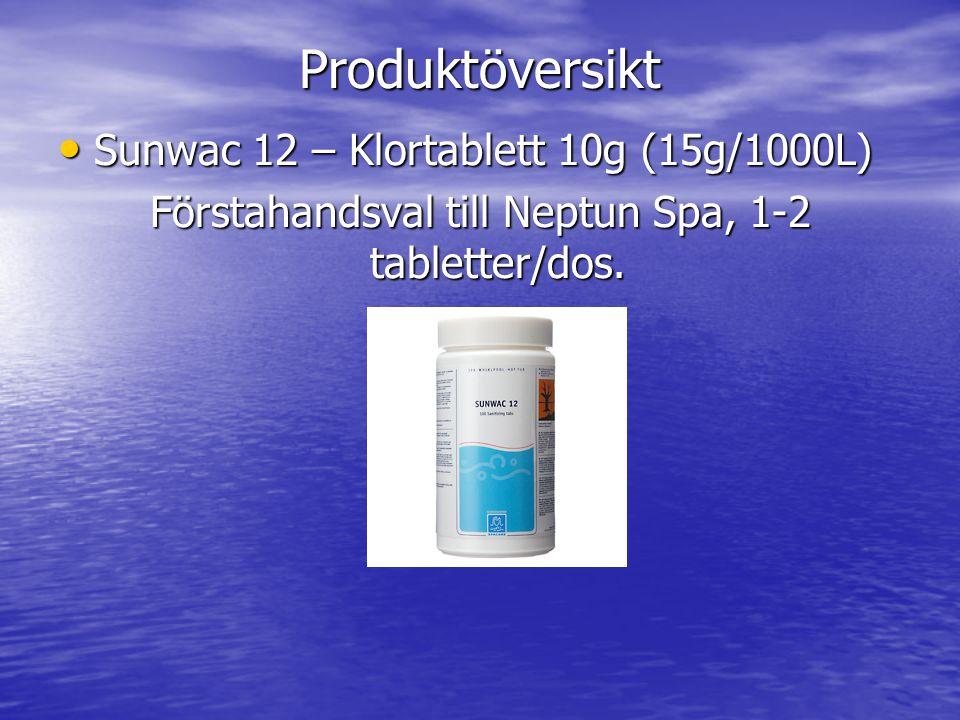 Produktöversikt • Sunwac 12 – Klortablett 10g (15g/1000L) Förstahandsval till Neptun Spa, 1-2 tabletter/dos.