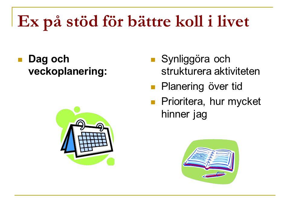 Ex på stöd för bättre koll i livet  Dag och veckoplanering:  Synliggöra och strukturera aktiviteten  Planering över tid  Prioritera, hur mycket hi