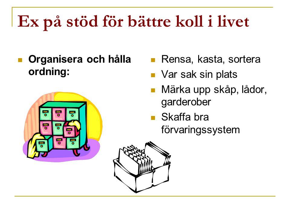 Ex på stöd för bättre koll i livet  Organisera och hålla ordning:  Rensa, kasta, sortera  Var sak sin plats  Märka upp skåp, lådor, garderober  S