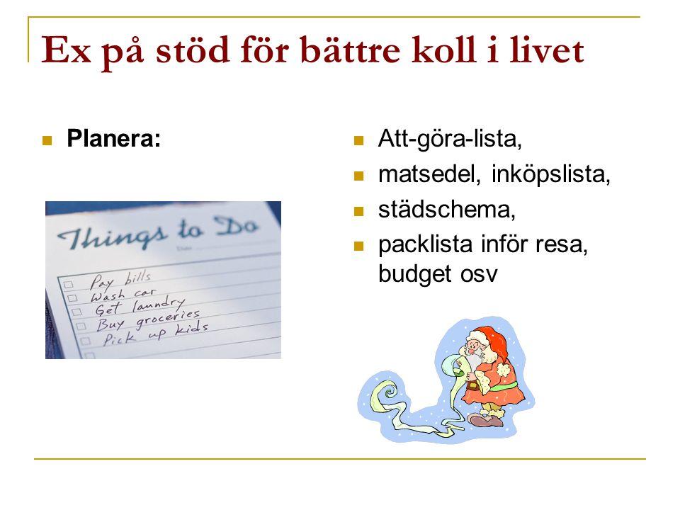  Planera:  Att-göra-lista,  matsedel, inköpslista,  städschema,  packlista inför resa, budget osv Ex på stöd för bättre koll i livet